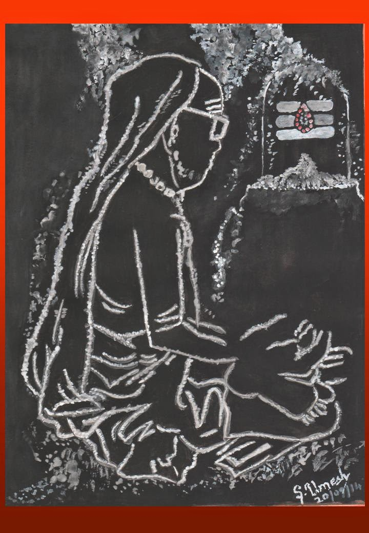MahaPeriyava In Vibhoothi – Painting By Sri Umesh