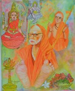 Periyava with Lord Dakshinamurthy, Kamakshi and Adi Sankara