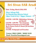 Sri Sivan SAR Aradhanai – Friday, March 25th 2016